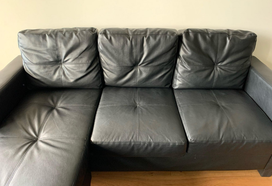 Black leather 3 seater lounge