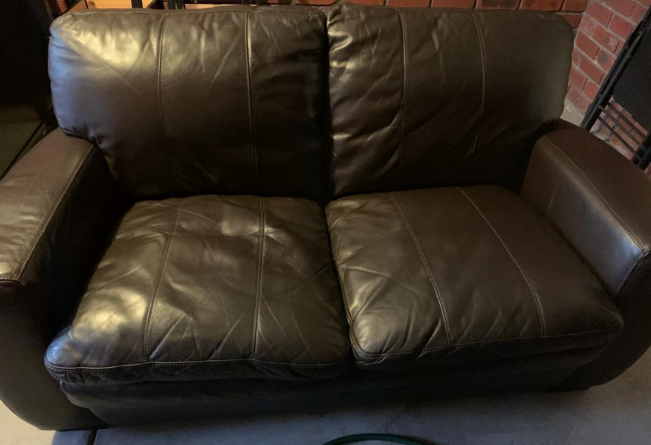 2 Seater Leather Couch - Dark Brown